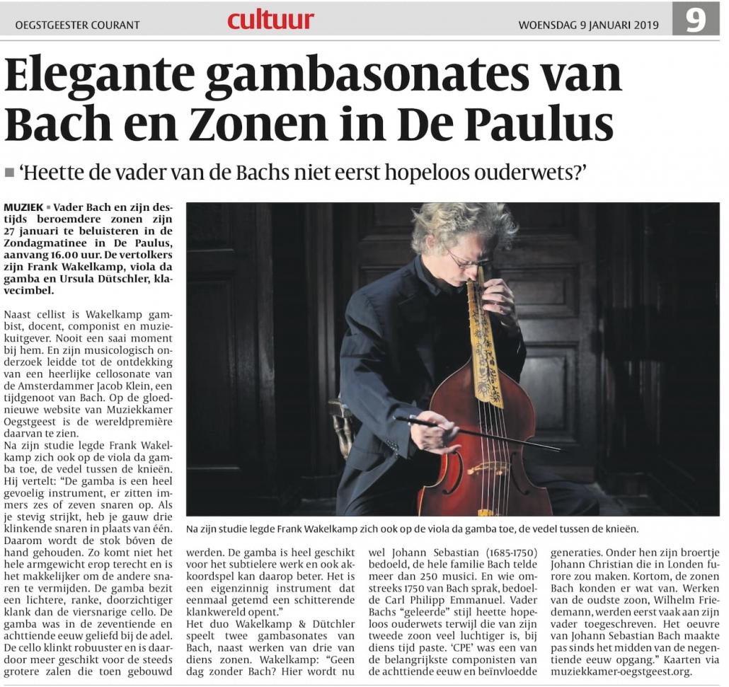 Frank Wakelkamp over Bach & zonen