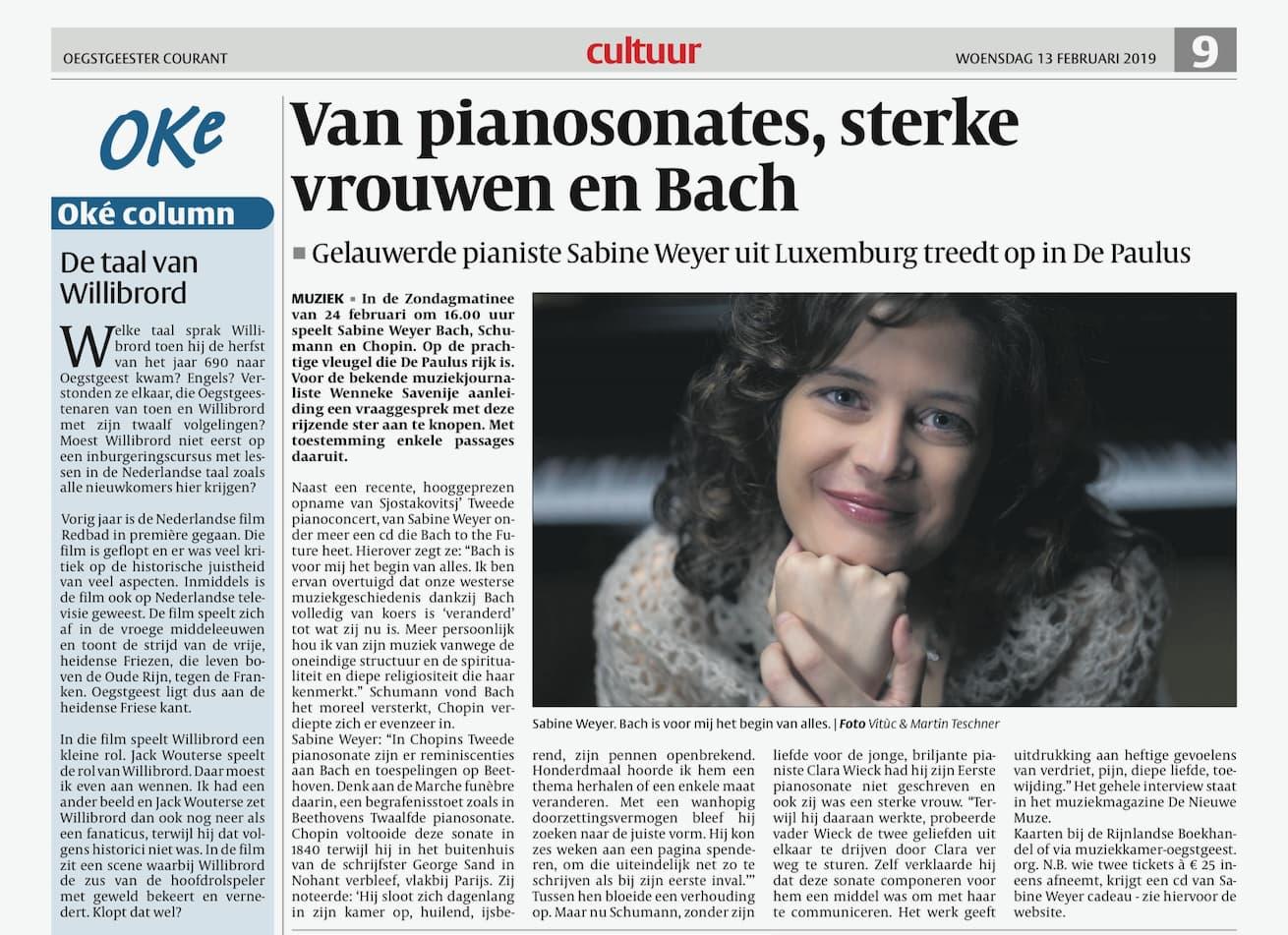 Van Pianosonates, sterke vrouwen en Bach